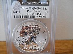 2011 American Silver Eagle 25th Anniversary Set Pcgs Ms/pr70 First Strike