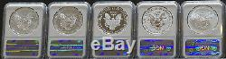 2011 AMERICAN SILVER EAGLE 25th ANNIVERSARY EARLY RELEASES NGC MS70 PF70 UC SET