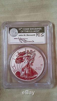 2011 American Eagle 25th Anniversary Mercanti signed PCGS MS70/PR70 First Strike