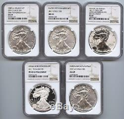 2011 American Eagle 5-Coin Set NGC PF69 & MS69 Certified 25th Anniversary AS464