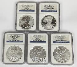 2011 American Silver Eagle 25TH ANNIVERSARY 5 COIN SET! NGC PF & MS 69