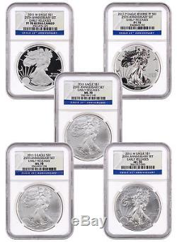 2011 American Silver Eagle 25th Ann. 5-coin Set NGC PF70 & MS70 ER SKU24531