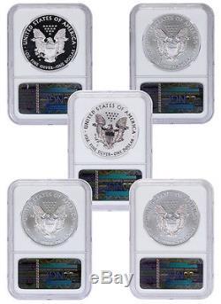 2011 American Silver Eagle 25th Ann. 5-coin Set NGC PF70 & MS70 ER SKU24531