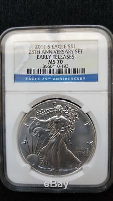 2011 American Silver Eagle 25th Anniversary 5-Coin Set NGC PF70/MS70 ER withOGP