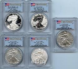 2011 American Silver Eagle 25th Anniversary 5 Coin Set PCGS PR69 MS69 JX068