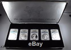 2011 American Silver Eagle 25th Anniversary 5 Coin Set PF70/MS70 NGC