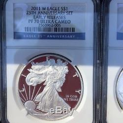 2011 American Silver Eagle 25th Anniversary 5 coin set, NGC PF70 MS70, ER, WithOGP