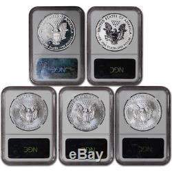 2011 American Silver Eagle 25th Anniversary 5-pc Set NGC MS70 PF70 Early Release