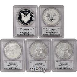 2011 American Silver Eagle 25th Anniversary 5-pc Set PCGS MS69 PR69 FS Mercanti