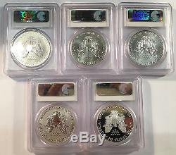 2011 American Silver Eagle 25th Anniversary 5-pc Set PCGS MS70 PR70 First Strike