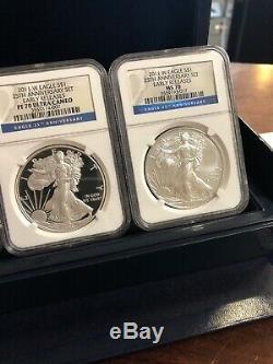 2011 American Silver Eagle 25th Anniversary Coin Set NGC MS70 PF70 OGP/COA