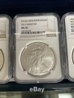 2011 American Silver Eagle 25th Anniversary Set NGC MS70 PF70 ASE 5 Coin Set WOW