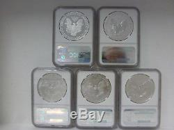 2011 American Silver Eagle 25th Anniversary Set NGC MS70 & PF70 Early Releases