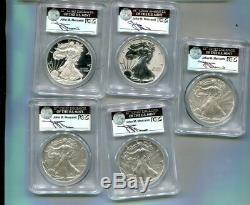 2011 American Silver Eagle Anniversary 5 Coin Set Pcgs Ms70 Pf70 Mercanti Auto