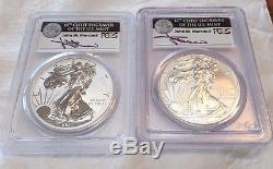 2011 P & W American Silver Eagle PCGS PR70 & MS702 Coins 25th Ann Mercanti