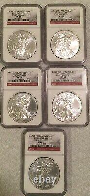 2011-S AMERICAN SILVER EAGLE NGC MS-69 EARLY RELEASE, 25th Anniversary Set of 5