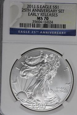 2011 S American Silver Eagle NGC Early Releases MS70 25th Anniversary set