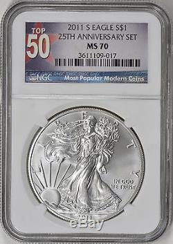 2011-S American Silver Eagle NGC MS70 25th Anniversary Set TOP 50 LABEL