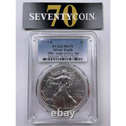 2011 S PCGS MS70 American Silver Eagle 25th Anniversary 7652