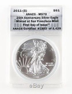 2011-S Silver American Eagle (MS70 ANACS) 25th Anniversary First Day Issue withBox