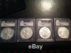2011 S W American Silver Eagle MS70 25th Anniversary 4 Coin Set John Mercanti FS