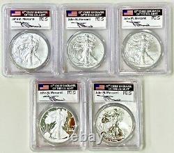 2011 SILVER AMERICAN EAGLE 25th ANNIVERSARY 5-Coin Set PCGS PR70, PR70DCAM, MS70