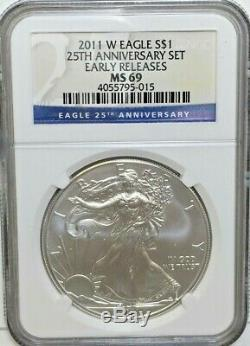 2011 SILVER AMERICAN EAGLE 25th ANNIVERSARY SET NGC MS 69 PF 70 WITH BOX