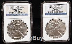 2011 Silver American Eagle 25th Anniv. 5 Coin Set NGC PF/MS 70 ER Masters LE Set