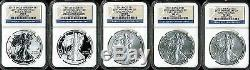 2011 Silver American Eagle 25th Anniversary 5 Coin Set MS69/PF69 NGC