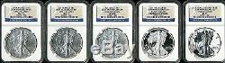 2011 Silver American Eagle 25th Anniversary 5 Coin Set MS70/PF70 NGC 3266071-003