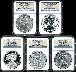 2011 Silver American Eagle 25th Anniversary 5 Coin Set MS70/PF70 NGC 3266071-007
