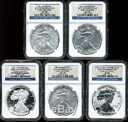 2011 Silver American Eagle 25th Anniversary 5 Coin Set MS70/PF70 NGC 3559375-118