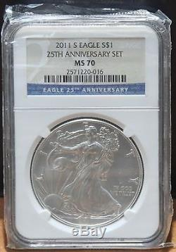 2011 Silver American Eagle 25th Anniversary 5 Coin Set NGC MS/PF 70 $1 Certified
