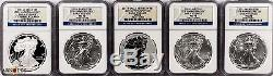 2011 Silver American Eagle 25th Anniversary 5 Coin Set, PF70 & MS70 NGC ER