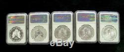 2011 Silver American Eagle Set Of 5 Coins All Ngc Pf70 Or Ms70 Reverse Cameo's