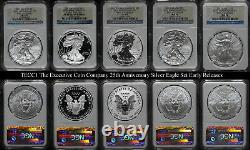 2011-W 25th Anniv Silver American Eagle $1 5-Coin Set NGC MS70 PF70 STOCK
