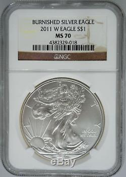 2011-W NGC MS70 Burnished Silver Eagle SP70 $1 West Point American Eagle