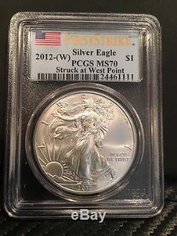 2012-W, American Silver Eagle, PCGS MS70, First Strike -Struck at West Point