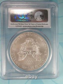 2013-w Burnished American Silver Eagle Pcgs Ms70 First Strike Label