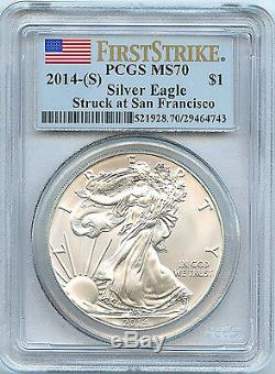 2014 S Silver American Eagle Dollar MS70 PCGS FS Flag Coin San Francisco C22