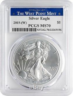 2015 $1 American Silver Eagle PCGS MS70 West Point Mint Label Box of 20