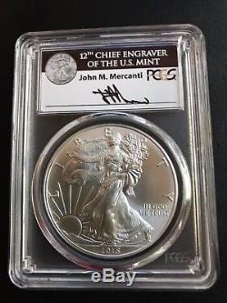 2015-P $1 Silver American Eagle MS69 John Mercanti Signature PCGS RARE