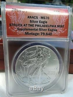 2015 (P) American Silver Eagle ANACS MS-70 PHILADELPHIA LABEL EXTREMELY RARE