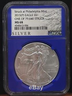 2015 (P) American Silver Eagle NGC MS68 Struck At Philadelphia Mint