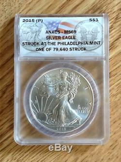 2015 P Anacs MS69 Philly American Silver Eagle Museum Quality Wood Display Case