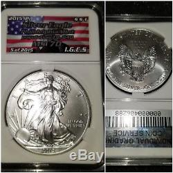 2015 (P) NGC MS70 Silver American Eagle Population of only 79640