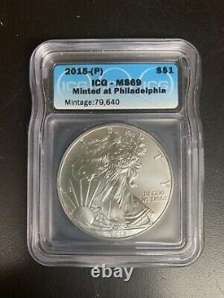2015-P Silver American Eagle ICG MS69 (Philadelphia) Less than 80,000