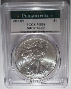 2015-p American Silver Eagle Dollar Pcgs Ms68 Struck At Philadelphia Only 79,640