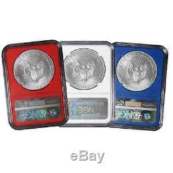 2016 $1 American Silver Eagle NGC MS69 Early Releases 3pc Red, White, and Blue