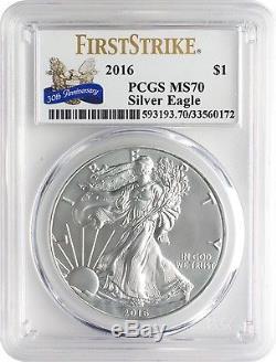 2016 $1 American Silver Eagle PCGS MS70 FS 30th Ann. Eagle Label Box of 20